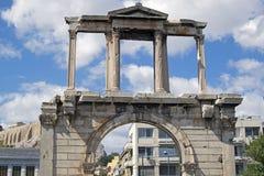 La voûte triomphale d'Adrian au centre d'Athènes images libres de droits