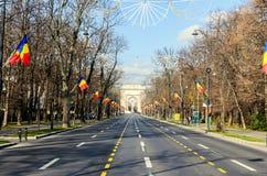 La voûte de Triumph Arcul de Triumf de Bucarest Roumanie, jour national Photographie stock