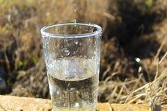 La vodka cade il gocciolamento in un vetro trasparente Vodka in un vetro contro lo sfondo del campo fotografia stock