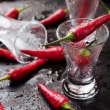 La vodka tiró con pimientas de chile en la tabla oxidada del grunge Fotografía de archivo libre de regalías
