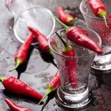 La vodka tiró con pimientas de chile en la tabla oxidada del grunge Foto de archivo