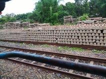 La voie de chemin de fer dans l'Inde Photos libres de droits