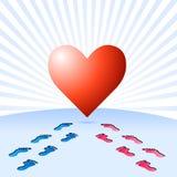 La voie de trouver l'amour vrai Photo libre de droits