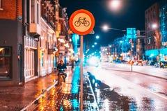 La voie pour bicyclettes se connectent une rue de nuit Photographie stock libre de droits