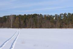 La voie sur un champ couvert de neige partant loin photos stock