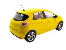 La voiture électrique jaune moderne pour l'été 3d d'isolement par voyages rendent o illustration de vecteur