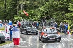 La voiture de l'équipe d'emballage de BMC - Tour de France 2014 Photographie stock