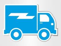 la voiture de livraison a coupé l'icône de transport d'illustration d'isolement par autocollant Photos stock
