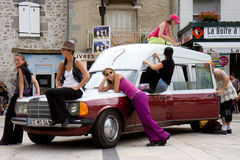 La voiture de mon bof by Cie Elan C'. Aurillac International Street Theatre Festival in France, 2010. Show, La voiture de mon bof by La Cie Elan C'. 500 royalty free stock photos