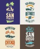 La voiture de muscle de vintage, le vélomoteur, le cabriolet et le logo classique de T-shirt de vecteur de véhicule ont isolé l'e Image libre de droits