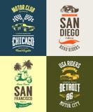 La voiture de muscle de vintage, le vélomoteur, le cabriolet et le logo classique de T-shirt de vecteur de véhicule ont isolé l'e Photographie stock libre de droits
