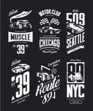 La voiture de muscle de vintage, logo de T-shirt de vecteur de roadster a isolé l'ensemble Image stock