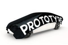 La voiture de prototype est couverte Photographie stock