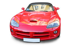 La voiture de sport rouge est isolée Photos stock