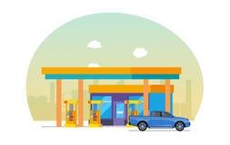 La voiture est remplie de combustible à la station service Objet d'industrie pétrolière  illustration stock