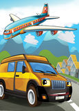 La voiture et l'avion de passagers Photo stock