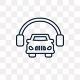 La voiture et les écouteurs dirigent l'icône d'isolement sur le backgroun transparent illustration de vecteur