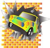 La voiture a heurté le mur illustration stock