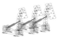 La voiture pédale architecte Blueprint - d'isolement illustration de vecteur