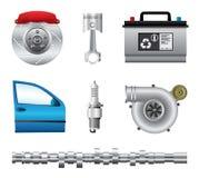 Pièces de voiture réglées Image stock