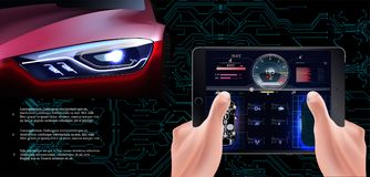 La voiture rouge futuriste sur un fond technologique Voiture de balayage, illustration de vecteur