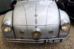 La voiture Tatra 77 A de l'année 1937 se tient dans le musée technique national Images stock