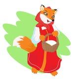 La volpe abila ha portato un ossequio nel canestro royalty illustrazione gratis