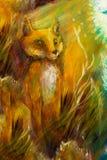 La volpe arancio che si siede nell'erba in sole rays, pittura variopinta Fotografie Stock Libere da Diritti