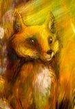 La volpe arancio che si siede nell'erba in sole rays, pittura variopinta, fondo astratto Fotografia Stock Libera da Diritti