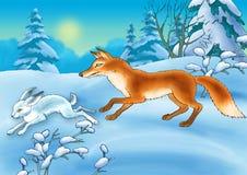 La volpe e le lepri Fotografie Stock Libere da Diritti