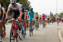 La volta a catalunya 2016. BARCELONA, SPAIN – MARCH 27, 2016: cyclists compete in the final stage in road bicycle race around Catalonia La Volta a Catalunya Royalty Free Stock Photo