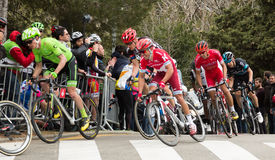 La volta a catalunya 2016. BARCELONA, SPAIN – MARCH 27, 2016: cyclists compete in the final stage in road bicycle race around Catalonia La Volta a Catalunya Royalty Free Stock Photography