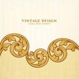 La voluta de oro victoriana barroca del ornamento floral de la frontera del marco del vintage grabó el vector caligráfico del tat ilustración del vector