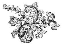 La voluta victoriana barroca del ornamento floral de la frontera del marco del vintage grabó el vector caligráfico del tatuaje re stock de ilustración