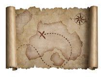 La voluta vieja del tesoro de los piratas con los bordes rasgados traza aislado Imagenes de archivo