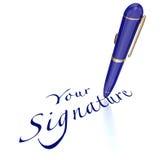 La vostra firma Pen Signing Name Autograph Fotografie Stock Libere da Diritti