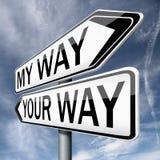 La vostra o mia freccia del segnale stradale di modo Immagini Stock Libere da Diritti