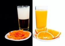 La vostra scelta: birra o succo Immagine Stock Libera da Diritti