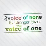 La voz de ningunos es más fuerte que la voz de una stock de ilustración