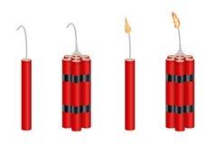 La vraie dynamite 3d et la dynamite emballent avec le feu brûlant Images stock