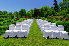 La vue étonnante des chaises décorées blanches dans le jardin botanique s'est préparée à une cérémonie de mariage Images stock