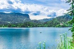La vue aérienne au-dessus des montagnes vertes par le lac a saigné en Slovénie images stock
