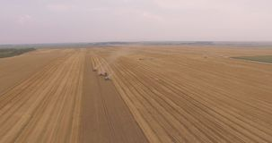 La vue aérienne combine la récolte partant un banque de vidéos