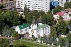 La vue aérienne de l'église orthodoxe de St Mary Magdalene a été fondée en 1847 dans la partie du sud-est de Minsk Image libre de droits