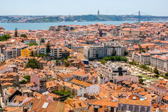 La vue aérienne de Lisbonne du Senhora font le point de vue de Monte Images libres de droits