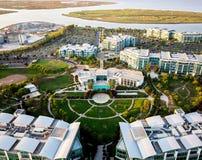 La vue aérienne de Pacifique étaye le club dans le port de Redwood City images libres de droits