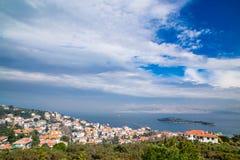 La vue aérienne de paysage de Burgazada est troisièmement - la plus grande de princes Islands photo libre de droits
