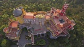 La vue aérienne de Pena de palais national de Pena - 4K ultra HD banque de vidéos