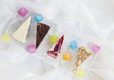 La vue aérienne des gâteaux assortis de fromage a placé sur des glaçons dans un plat blanc Image libre de droits