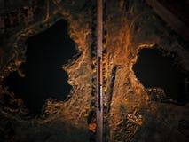 La vue aérienne des lacs près forment la voie images stock
